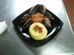 Stuffed Mussels and Polenta
